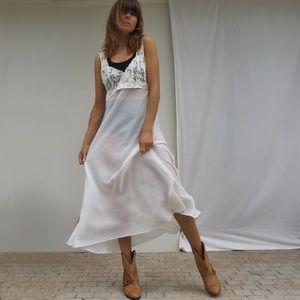 VINTAGE WHITE LACE MAXI LINGERIE SLIP DRESS
